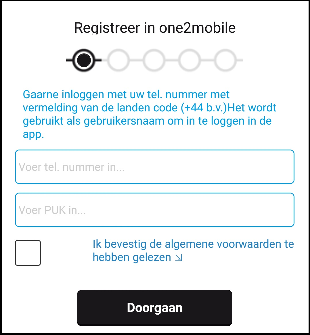 Registratie one2mobile 2