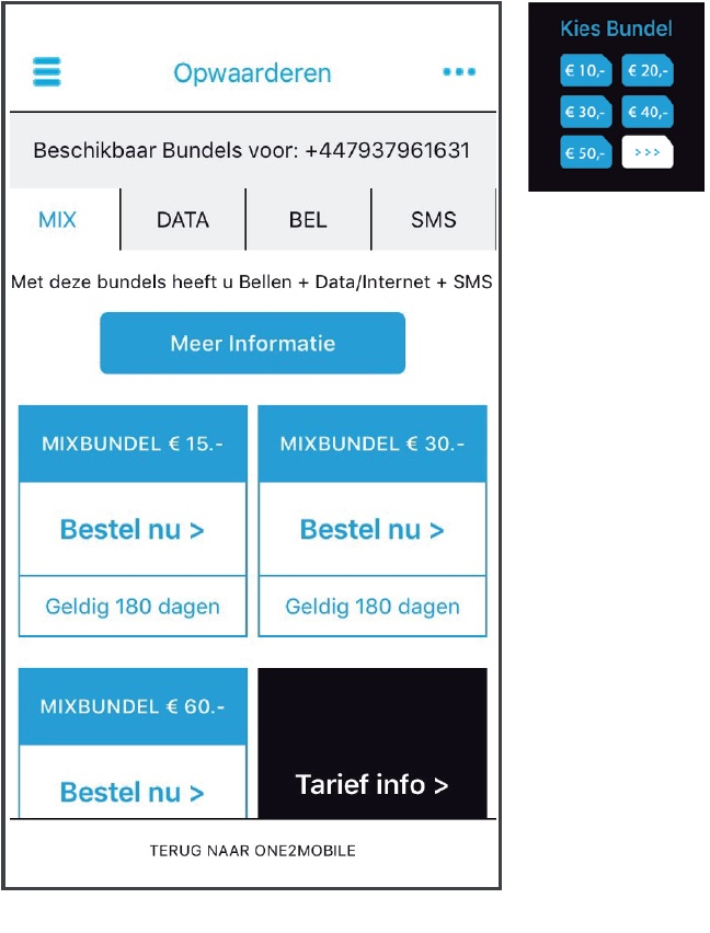 one2mobile bundel aankopen procedure
